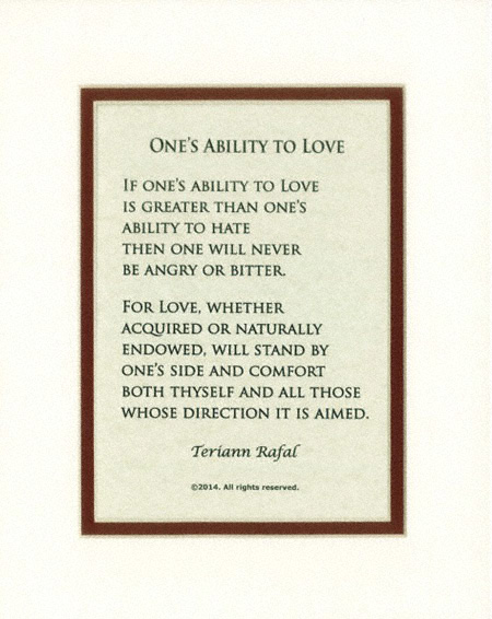 One's ability to love poem - Bold Linen